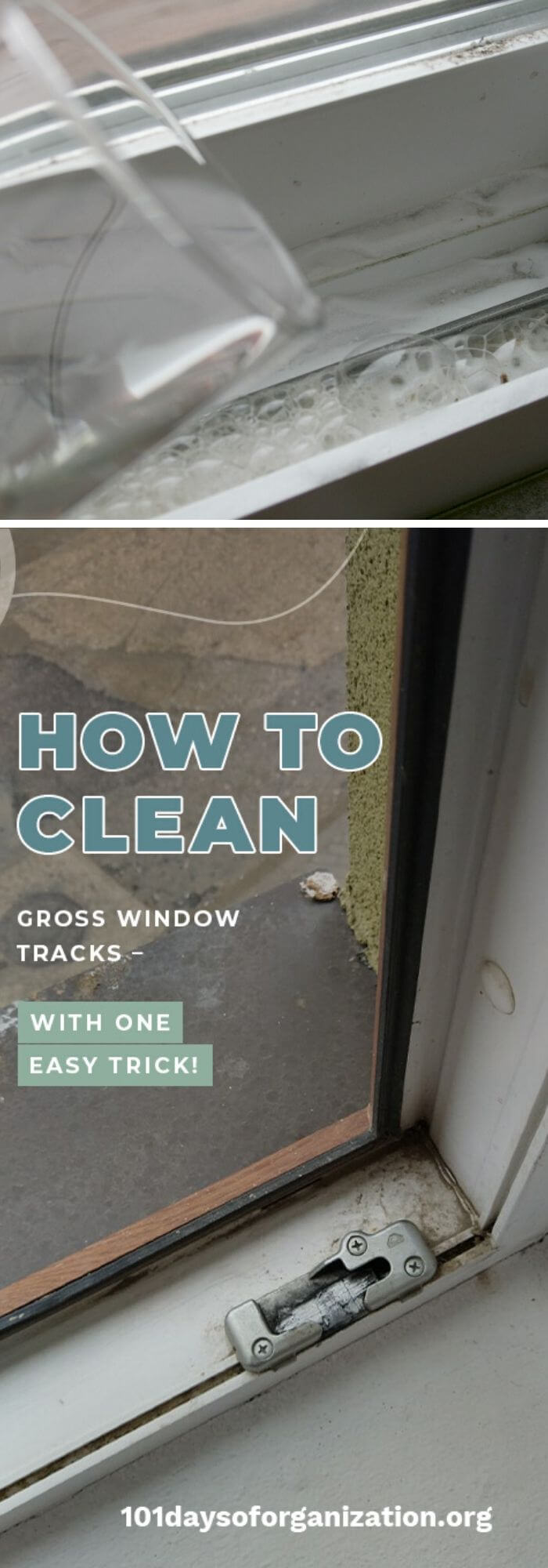 Use baking sodar and white vinegar to clean gross window tracks