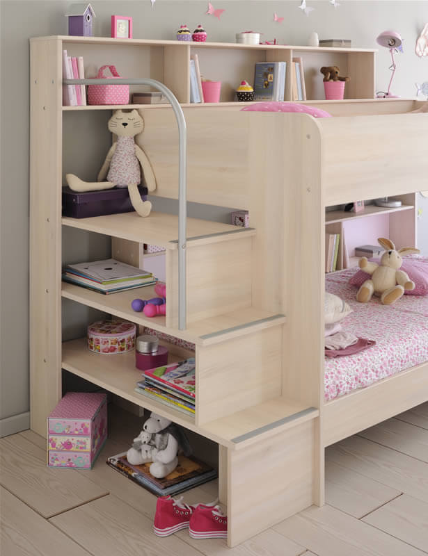 Shelved bunk bed