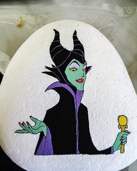 Witch painted rock