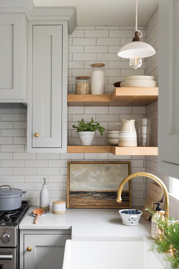 Farmhouse kitchen with pottery and crocks