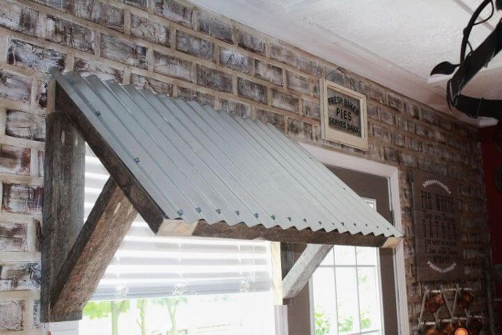 Farmhouse kitchen with Metal awning