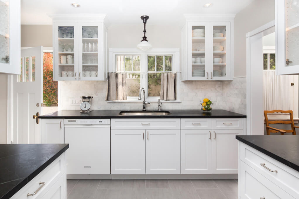 This Transitional Farmhouse Kitchen was completely remodeled and the home is nestled on the border of Pasadena and South Pasadena.