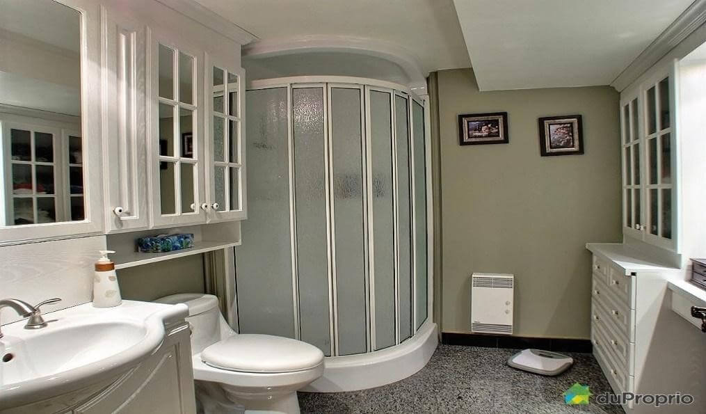Frosted shower and mirrored cabinets