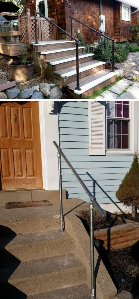 Mounted steel porch railing