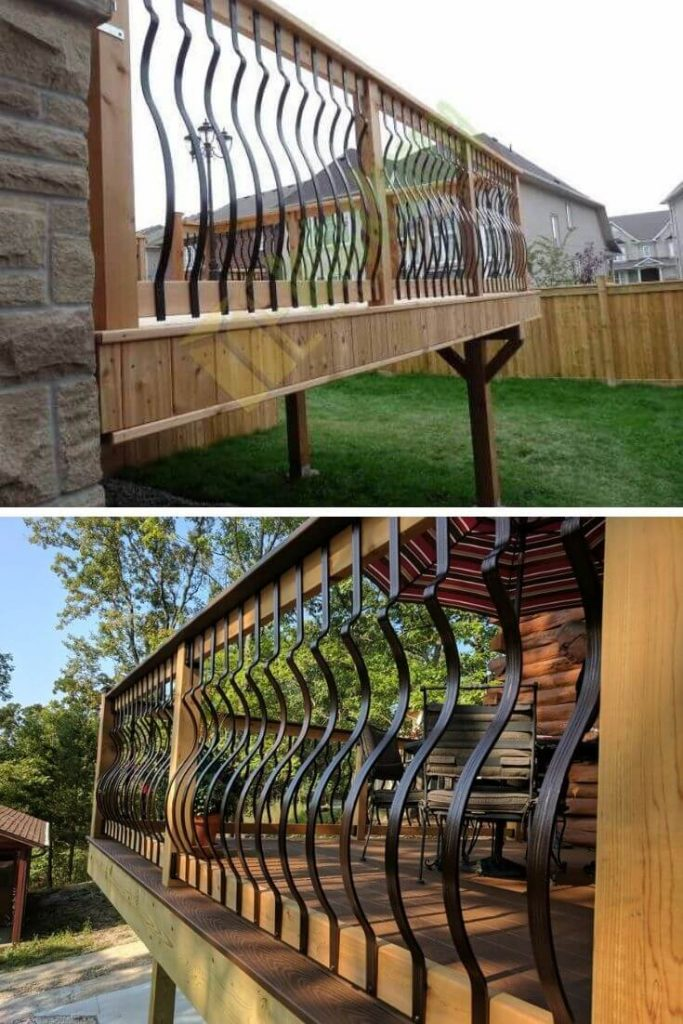 Curved spindle porch railings