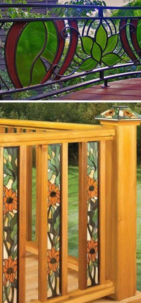 Stained glass porch railing