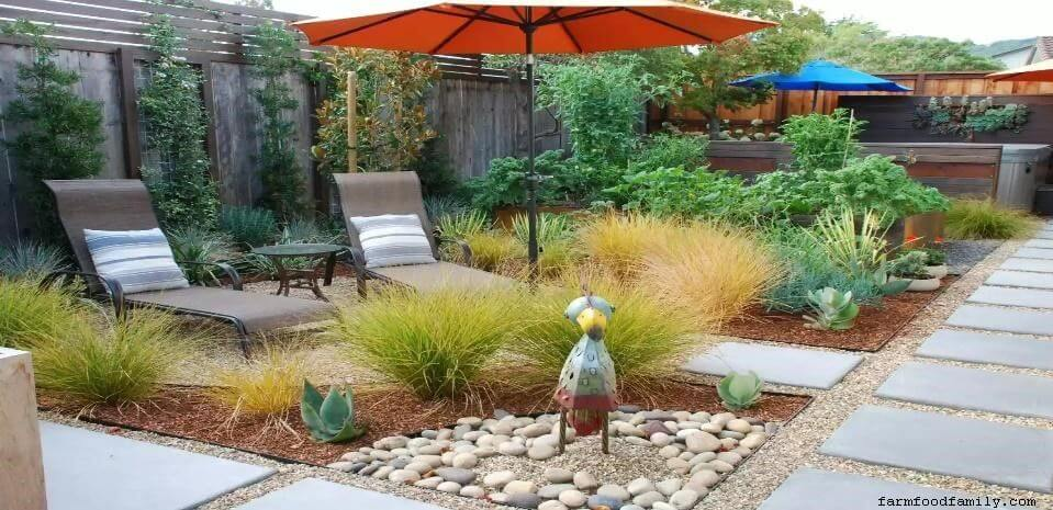 Hot tub and xeriscape