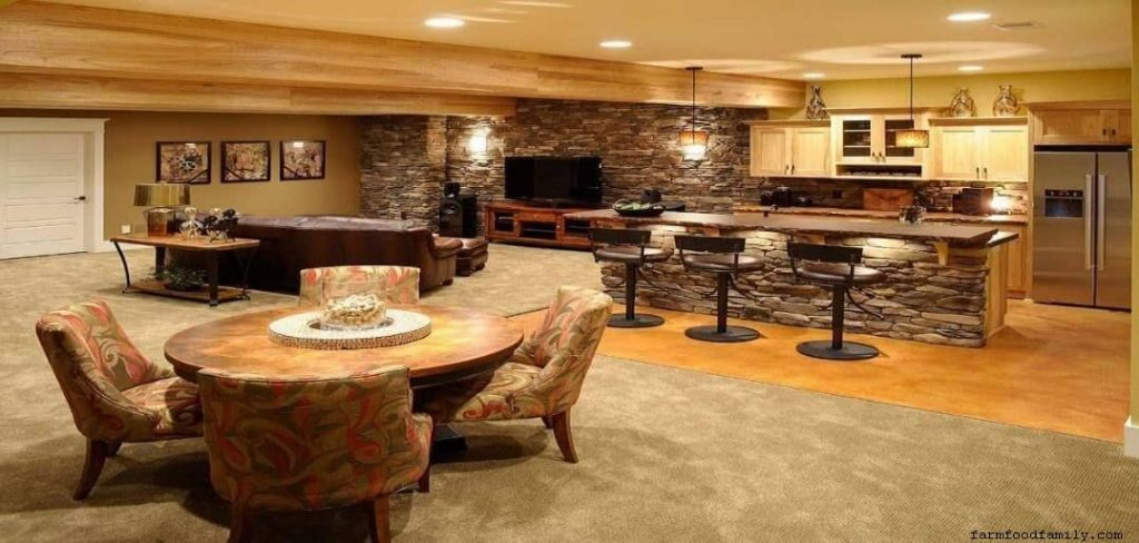 Basement apartment with a bar