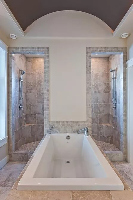 Vault style basement tub and shower
