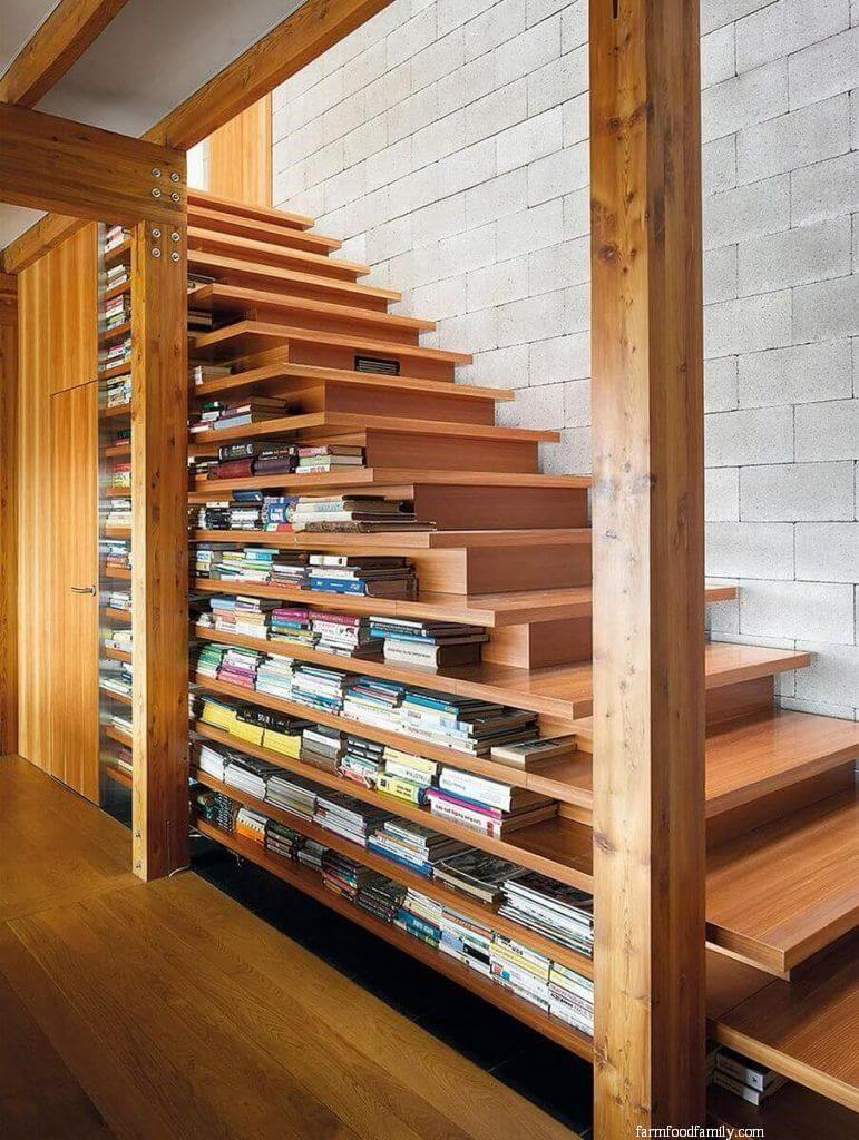 Bookcase by the stairs