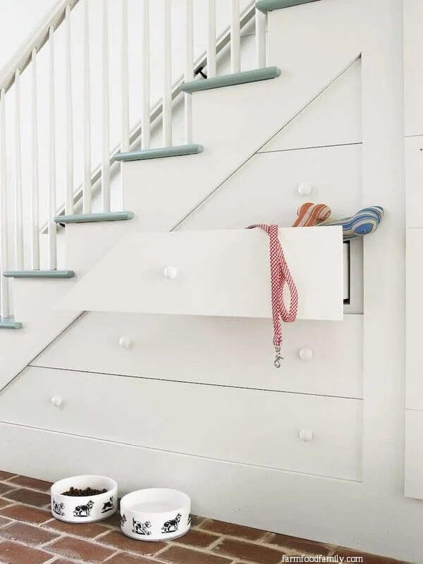 Drawers by the stairs